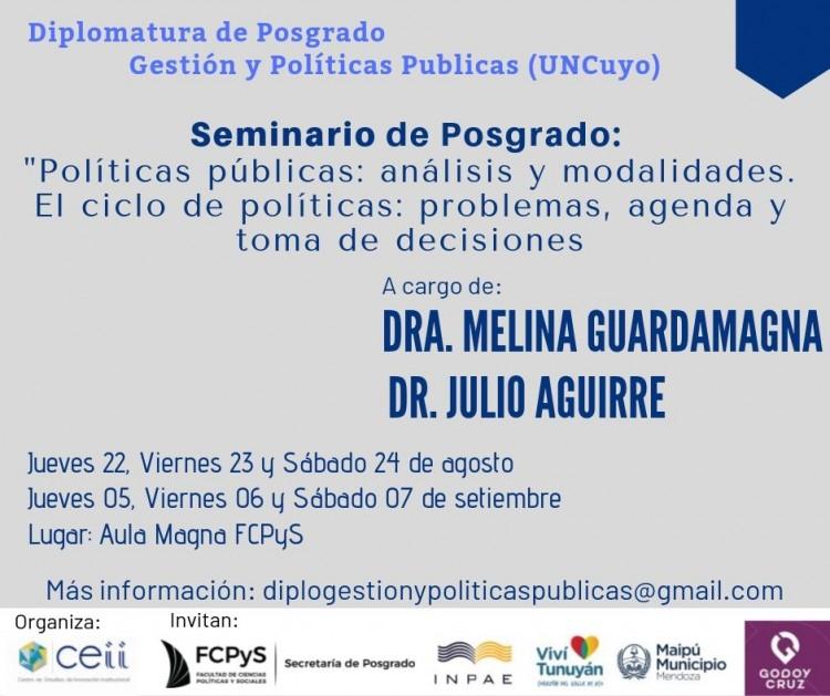 """Seminario de Posgrado: """" Políticas públicas: análisis y modalidades. El ciclo de políticas: problemas, agenda y toma de decisiones"""""""