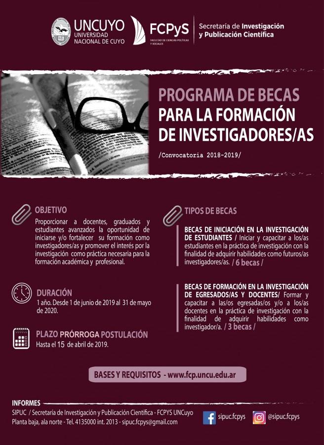 Afiche Convocatoria becas 2018-2019