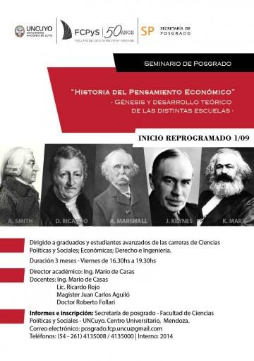"""Curso de Posgrado """"Historia del Pensamiento Económico""""- Comienza el 1 de septiembre"""