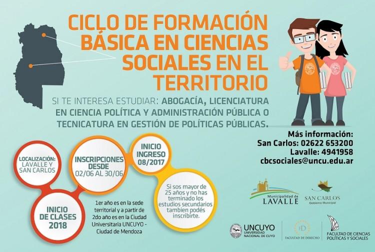Comenzaron las inscripciones para el Ciclo de formación básica en Ciencias Sociales en territorio