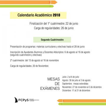 Calendario académico segundo cuatrimestre 2018