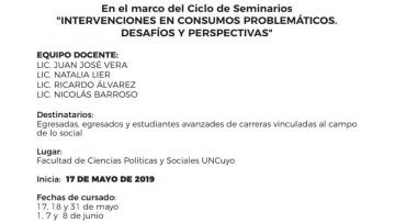 """CICLO DE SEMINARIOS """"Intervenciones en Consumos Problemáticos. Desafíos y perspectivas"""""""