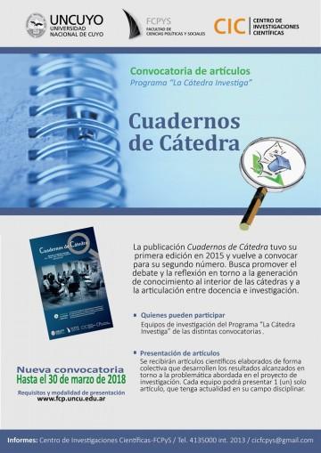 """Convocatoria de artículos para la nueva edición de """"Cuadernos de Cátedra"""""""