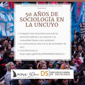 """Convocatoria: """"50 años de Sociología en la UNCuyo"""""""