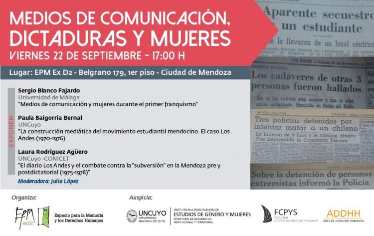Medios de comunicación, dictaduras y mujeres será el tema de una charla