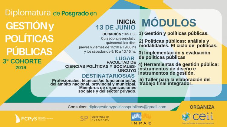 Pre Inscripciones 2019 para la Diplomatura de Posgrado en Gestión y Políticas Públicas