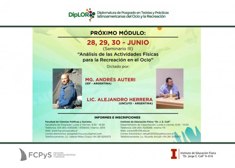 """III Seminario """"Análisis de las Actividades Físicas para la Recreación en el Ocio"""""""