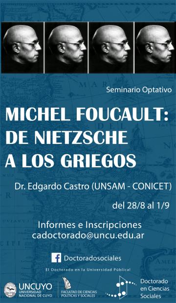 """Se realizará el Seminario """"Michel Foucault: de Nietzsche a los griegos"""""""