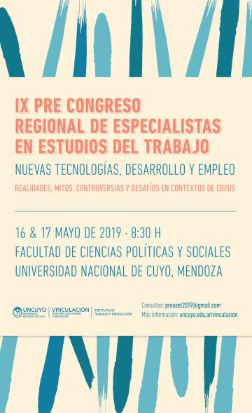 IX Pre-Congreso de Especialistas en Estudios del Trabajo (PREASET -2019)