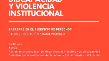"""Discapacidad y violencia institucional"""" serán tema de reflexión"""