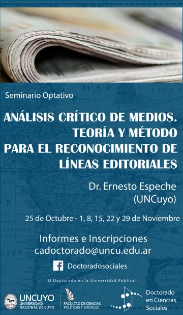"""Seminario """"Análisis crítico de medios. Teoría y método para el reconocimiento de líneas editoriales""""."""