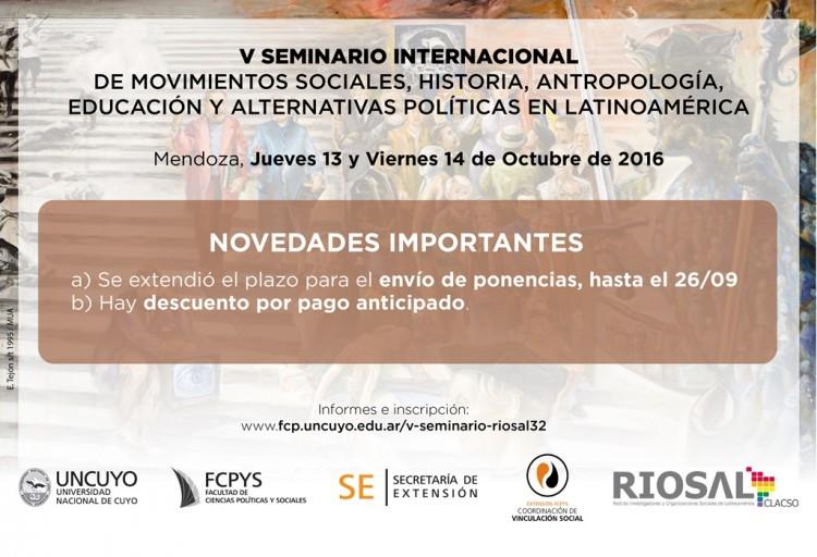 Extienden el plazo para presentar resúmenes en el Seminario de Movimientos Sociales