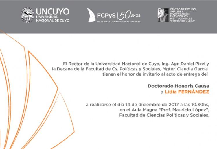 Honoris causa Lidia Fernandez