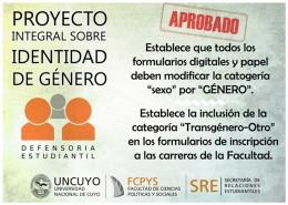 Proyecto Integral de Identidad de Género