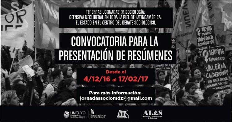 Convocatoria para la presentación de resúmenes 3º Jornadas de Sociología y Pre-ALAS.