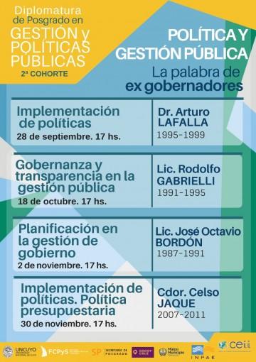 Tercer encuentro de Gestión y Política Pública en la Palabra de Ex Gobernadores, será dictado por el Lic. José Octavio Bordón