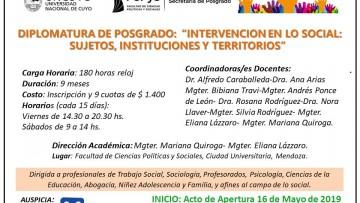 """Inscripciones abiertas para la Diplomatura en """"Intervención en lo social: sujetos, instituciones y territorios"""""""