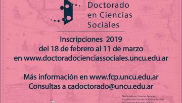 Inscripciones abiertas para el Doctorado en Ciencias Sociales