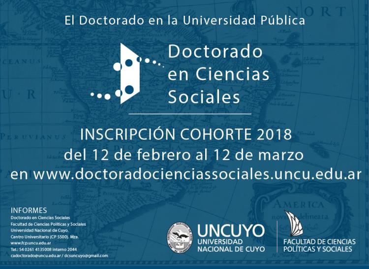 Doctorado en Ciencias Sociales. Inscripciones Cohorte 2018