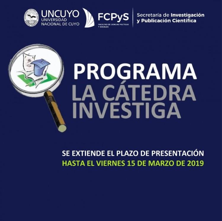 """Convocatoria 2019 del Programa """"La Cátedra Investiga"""". Se extiende el plazo hasta el 15 de Marzo"""