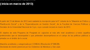 """""""Maestría en Política Y Planificación Social"""" y """"Especialización en Gestión Social"""""""