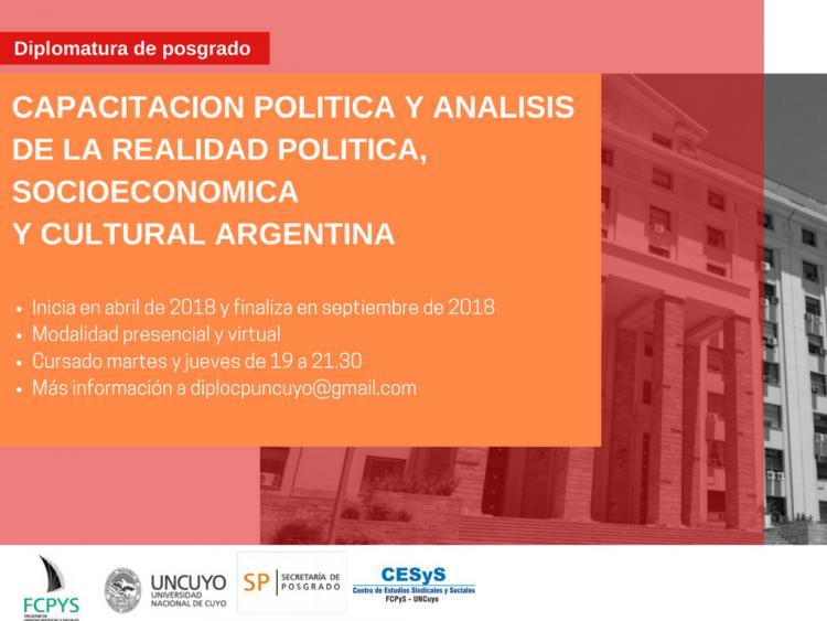 Comienza la segunda edición de Diplomatura en Capacitación Política y análisis de la realidad