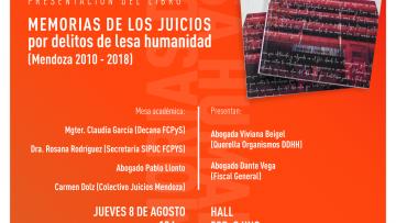 """Se presentará el libro """"Memorias de los juicios por delitos de lesa humanidad (Mendoza 2010-2018)"""""""