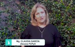 Bienvenida de la decana Claudia García a todas y todos los estudiantes de la FCPyS al ciclo lectivo 2020