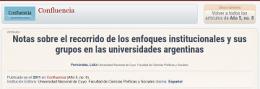 Notas sobre el recorrido de los enfoques institucionales y sus grupos en las universidades argentinas (2011)