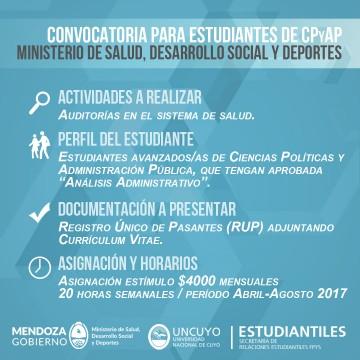 Pasantía destinada a estudiantes para el Ministerio de Salud, Desarrollo Social y Deporte