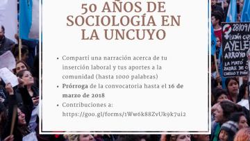 Prórroga para la recepción de narraciones: 50 años de Sociología en la UNCuyo