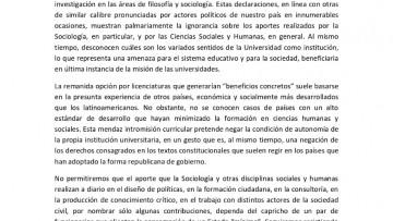 Repudio de la Red Argentina de Carreras de Sociología a las declaraciones de Bolsonaro