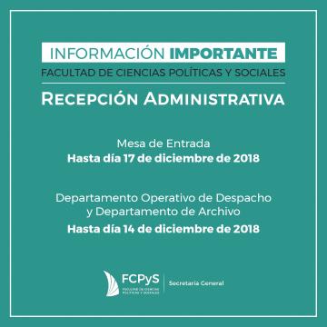 Fechas límite para recepción de actuaciones administrativas