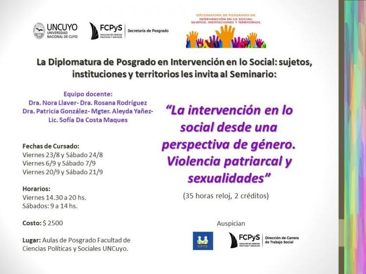 """Comienza el seminario sobre """"La intervención en lo social desde una perspectiva de género. Violencia patriarcal y sexualidades"""""""