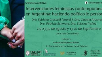 """Seminario optativo: """"Intervenciones feministas contemporáneas en Argentina: haciendo político lo personal """""""