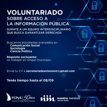 Se extiende el plazo para inscripciones en el voluntariado sobre Acceso a la Información Pública