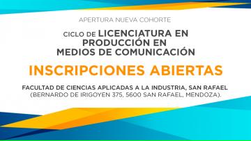 Siguen abiertas las inscripciones para el Ciclo de Licenciatura en Producción en Medios de Comunicación