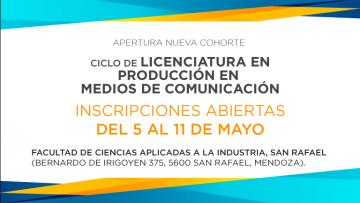Inscripciones abiertas Ciclo de Licenciatura en Producción en Medios de Comunicación