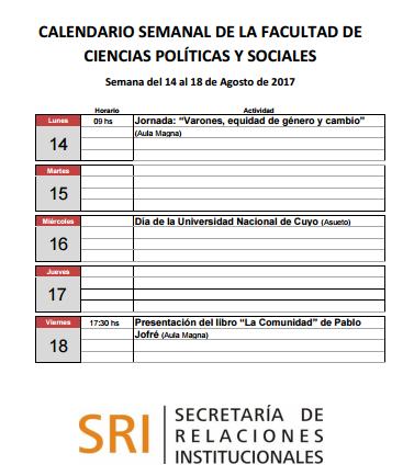 Agenda semanal 14-08