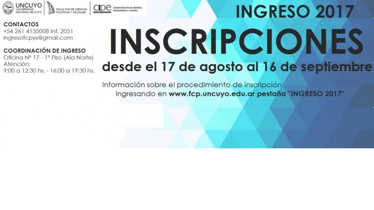 La Facultad de Ciencias Políticas y Sociales abre las inscripciones para el Ingreso 2017
