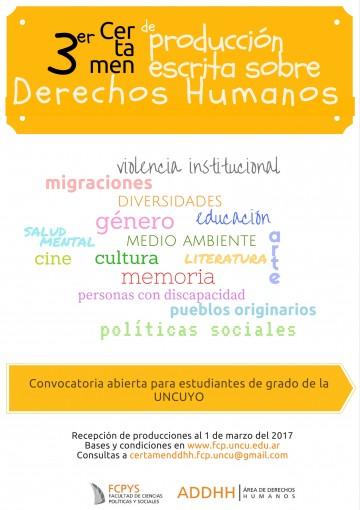 Ya se puede participar del 3er Certamen de producción escrita sobre Derechos Humanos