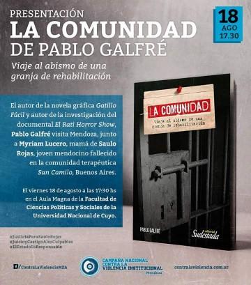 """Presentarán el Libro """"LA COMUNIDAD"""" de Pablo Galfré"""
